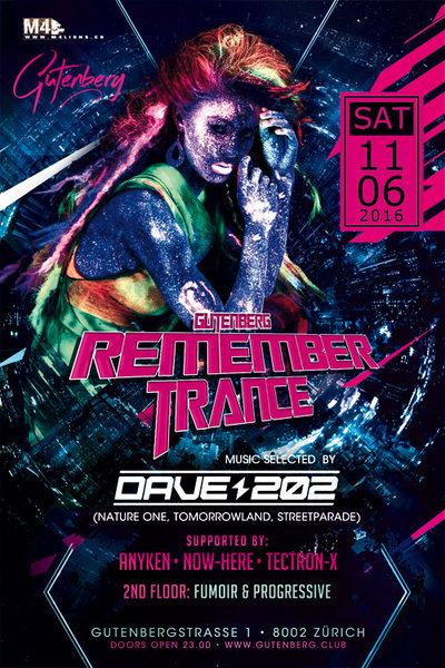 REMEMBERTRANCE & PROGRESSIVE mit DAVE 202 // TECTRON-X // ANYKEN // NOW-HERE 11 Jun '16, 23:00