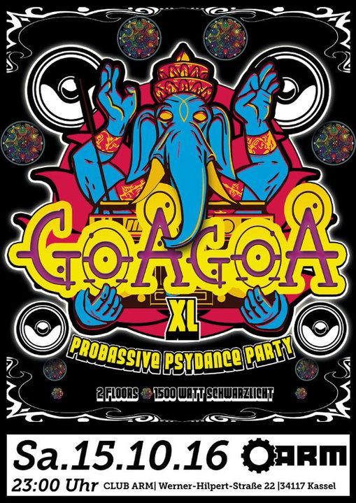 ॐ GoaGoa XL ॐ 2 Floors ॐ 8 DJs ॐ 1500 Watt Schwarzlicht ॐ 15 Oct '16, 23:00