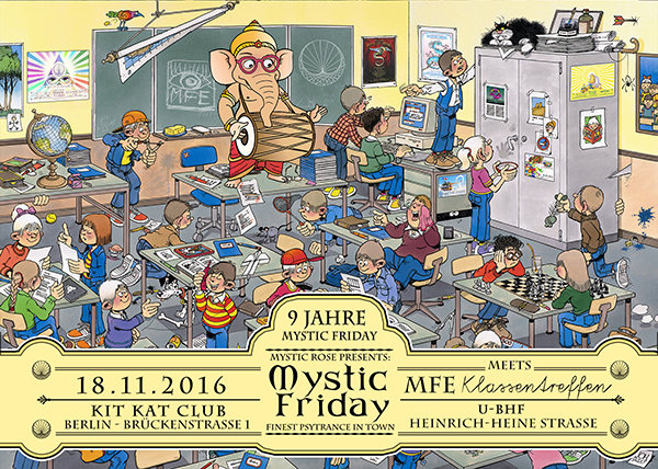 Party flyer: 9 Jahre Mystic Friday meets MfE Klassentreffen 18. Nov 16, 22:00