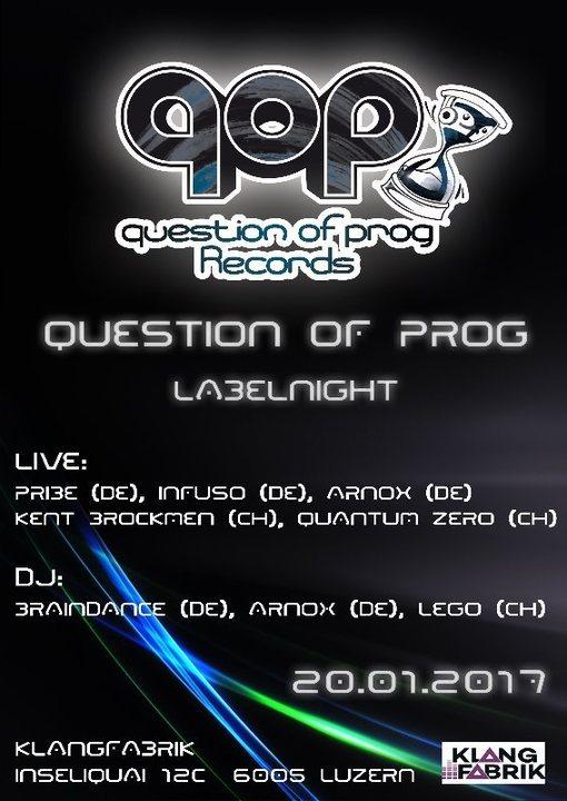 Party flyer: Progressive Tunes w/ Question of Prog Records 20 Jan '17, 23:00