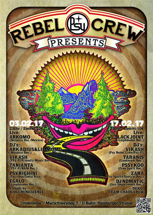 Party flyer: ★ ★ ★ PSY REBEL CREW Present's ★ ★ ★ 3 Feb '17, 23:00