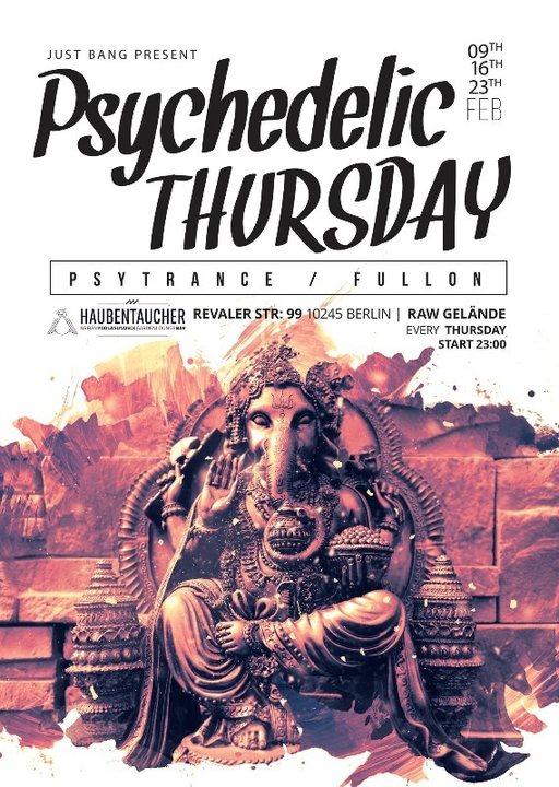 Party flyer: ॐPsychedelic Thursdayॐ w/ PsyCrow ,Match Hofmann ,Sayia ,Jespa 9 Feb '17, 23:00