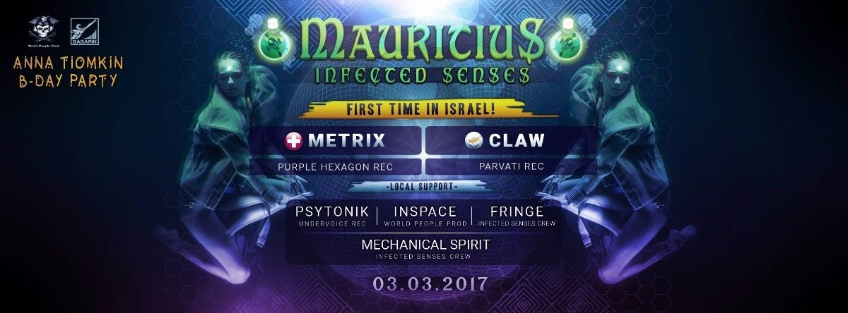Party flyer: Mauritius Infected Senses Crew 3.3 : Metrix & Claw 3 Mar '17, 23:00