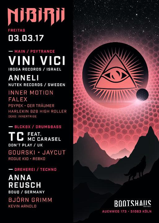 Party flyer: Nibirii: VINI VICI, Anneli, uvm. 3 Mar '17, 23:00