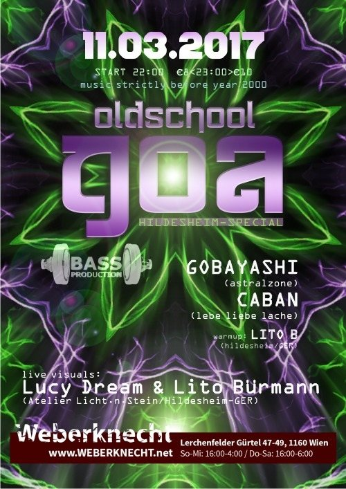 Party flyer: Oldschool Goa Party @ Weberknecht 11 Mar '17, 22:00