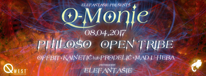 Party flyer: •۰•● Q-Monie with Philoso and Open Tribe ●•۰• 8 Apr '17, 22:00