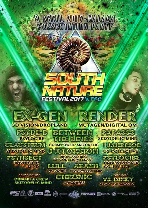 Party flyer: Teaser Party South Nature Festival (Malaga.) 8 Apr '17, 22:00