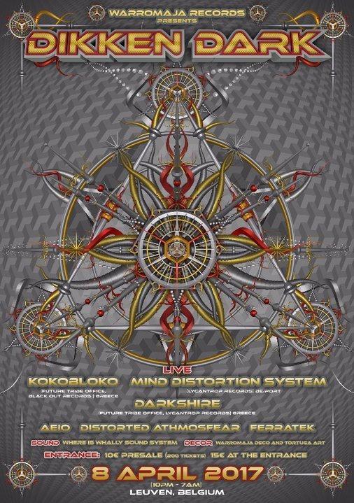 Party flyer: Warromaja records presents: Dikken dark with Kokobloko & MDS 8 Apr '17, 22:00