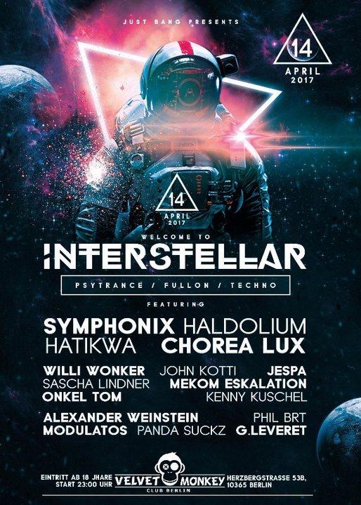 Party flyer: Interstellar w/ Symphonix,Haldolium,Hatikwa ,Chorea Lux 14 Apr '17, 23:00