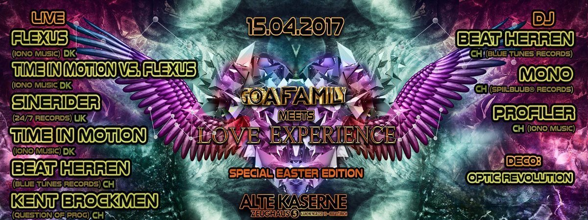 Party flyer: **GOAFAMILY meets LOVE EXPERIENCE** Special Easter Edition 15 Apr '17, 22:30