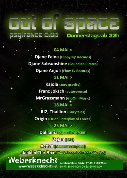 Party flyer: Out Of Space Psytrance Club @ Weberknecht 11 May '17, 22:00