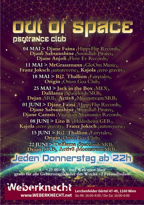 Party flyer: Out Of Space Psytrance Club @ Weberknecht 25 May '17, 22:00