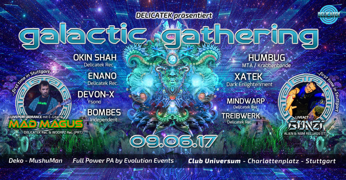 Party flyer: GALACTIC GATHERING ॐ with GONZI (ITA) Live & MadMagus (PRT) Live Guitar 9 Jun '17, 22:00