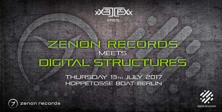Party flyer: Zenon Rec. meets Digital Structures l Hoppetosse-Boat 13 Jul '17, 22:00