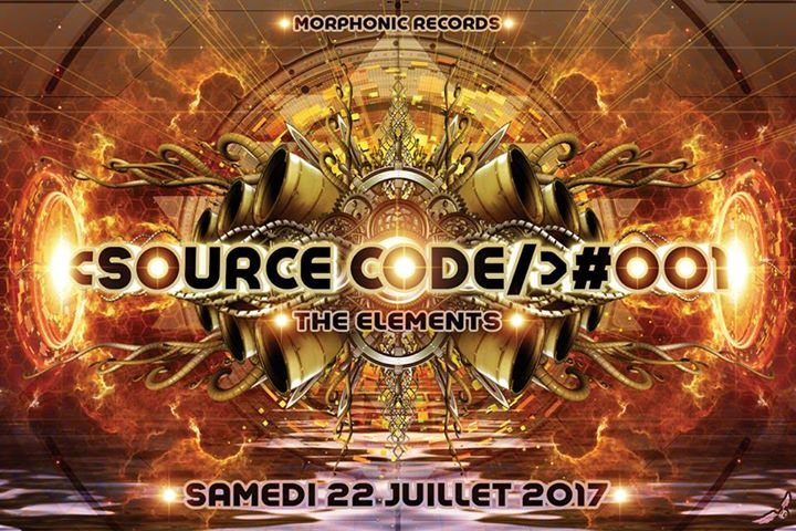 Party flyer: Source Code #001 - the Elements 22 Jul '17, 23:00