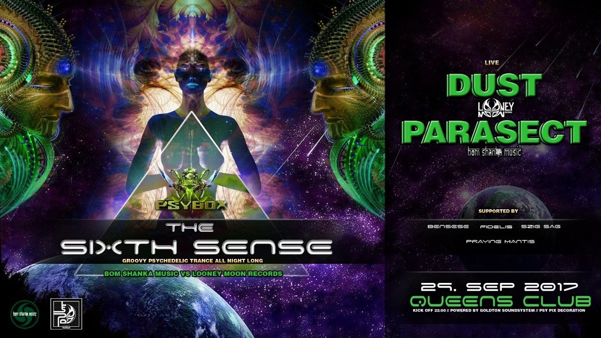 Party flyer: PSYBOX - The Sixth Sense with DUST & PARASECT *live 29 Sep '17, 22:00