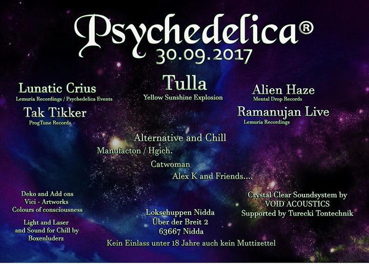 Party flyer: Psychedelica 30 Sep '17, 21:00