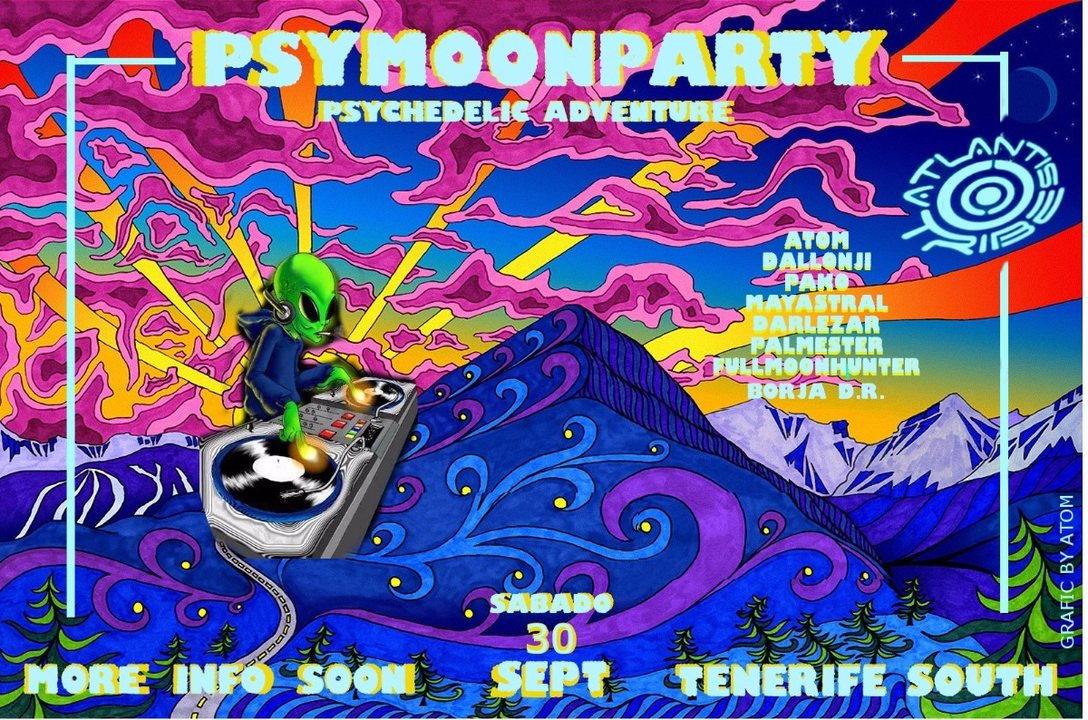 Party flyer: PSYMOON PARTY - TENERIFE SOUTH 30 Sep '17, 22:00