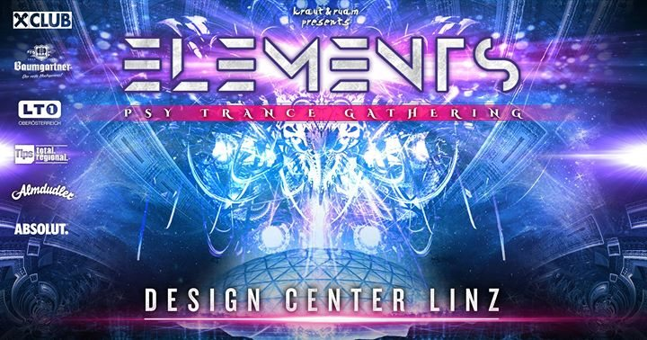 Party flyer: Elements Festival - Design Center Linz 14 Oct '17, 21:00