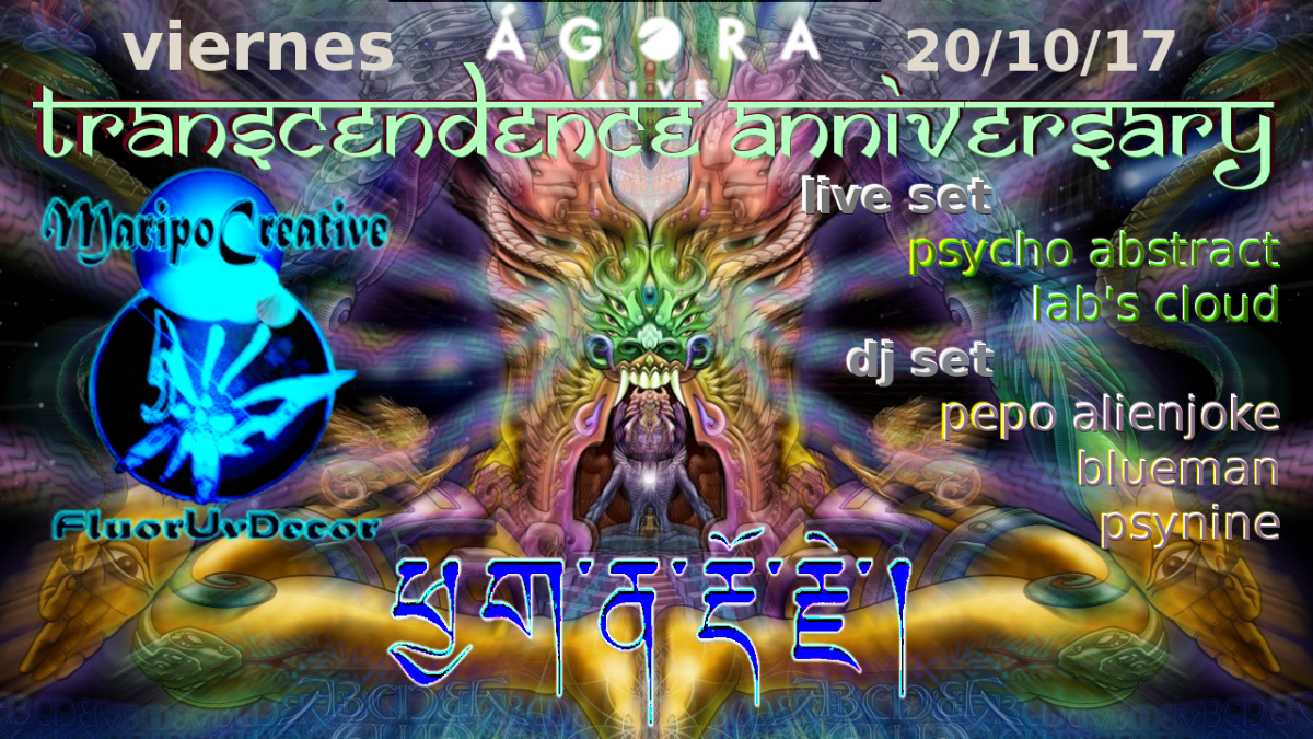 Party flyer: Transcendence Anniversary 20 Oct '17, 23:30