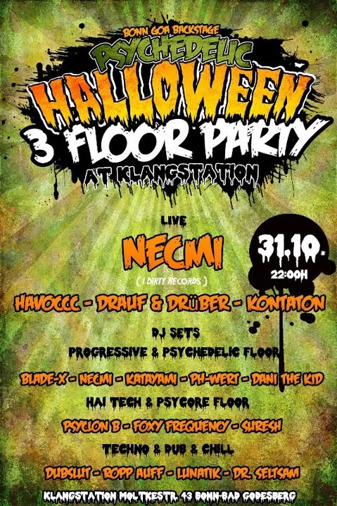 Party flyer: Psychedelic Halloween / 3 Floor Party / at Klangstation 31 Oct '17, 22:00