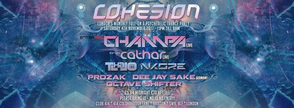 Party flyer: Cohesion Psytrance Adventure 4 Nov '17, 23:00