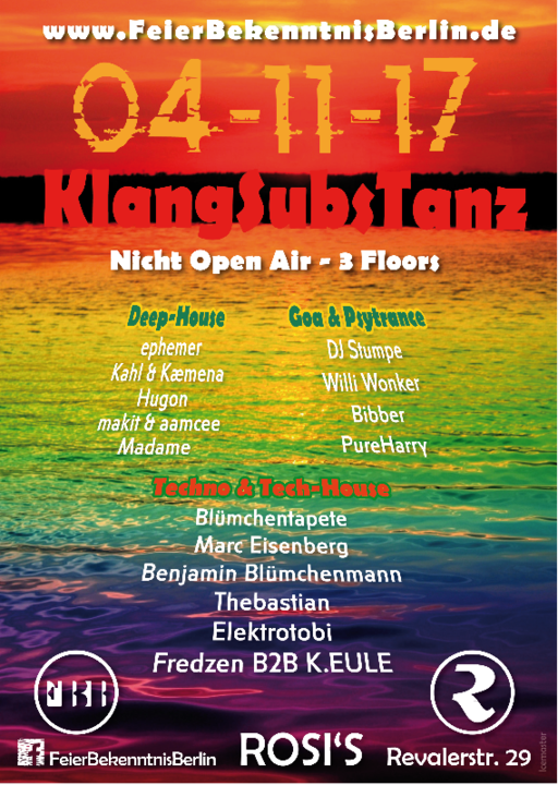 FBB KlangSubsTanz Nicht Open Air & Benjamins Geburtstagssause 4 Nov '17, 23:00