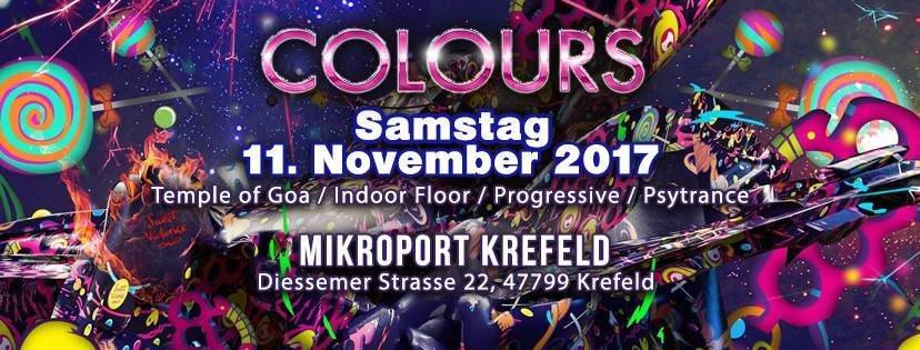 Party flyer: Colours / Goa / Techno on 2 Areas 11 Nov '17, 01:00