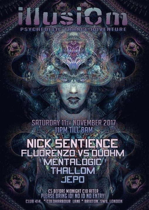 IllusiOm Sat 11th of Nov at Club 414, With Nick Sentience & More 11 Nov '17, 23:00
