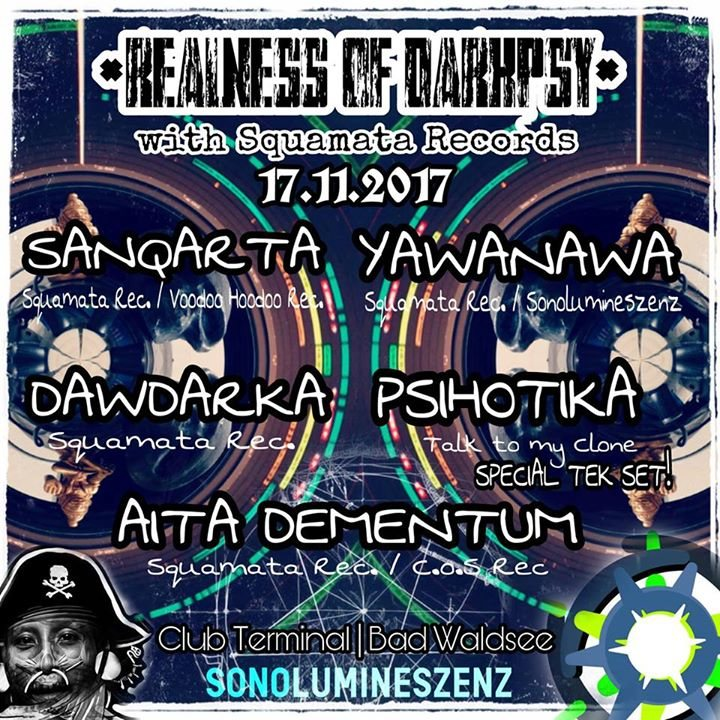 Party flyer: Realness of Darkpsy w/Squamata Records 17 Nov '17, 21:00