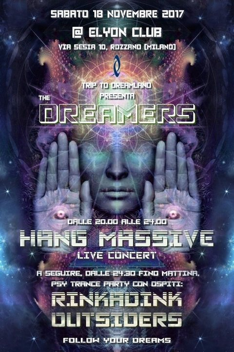 Party flyer: Hang Massive live concert, Rinkadink + Outsiders: The Dreamers 18 Nov '17, 20:00