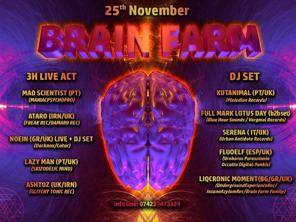 BrainFarm Pres... MadScientist & 4 LiveActs 25 Nov '17, 22:00