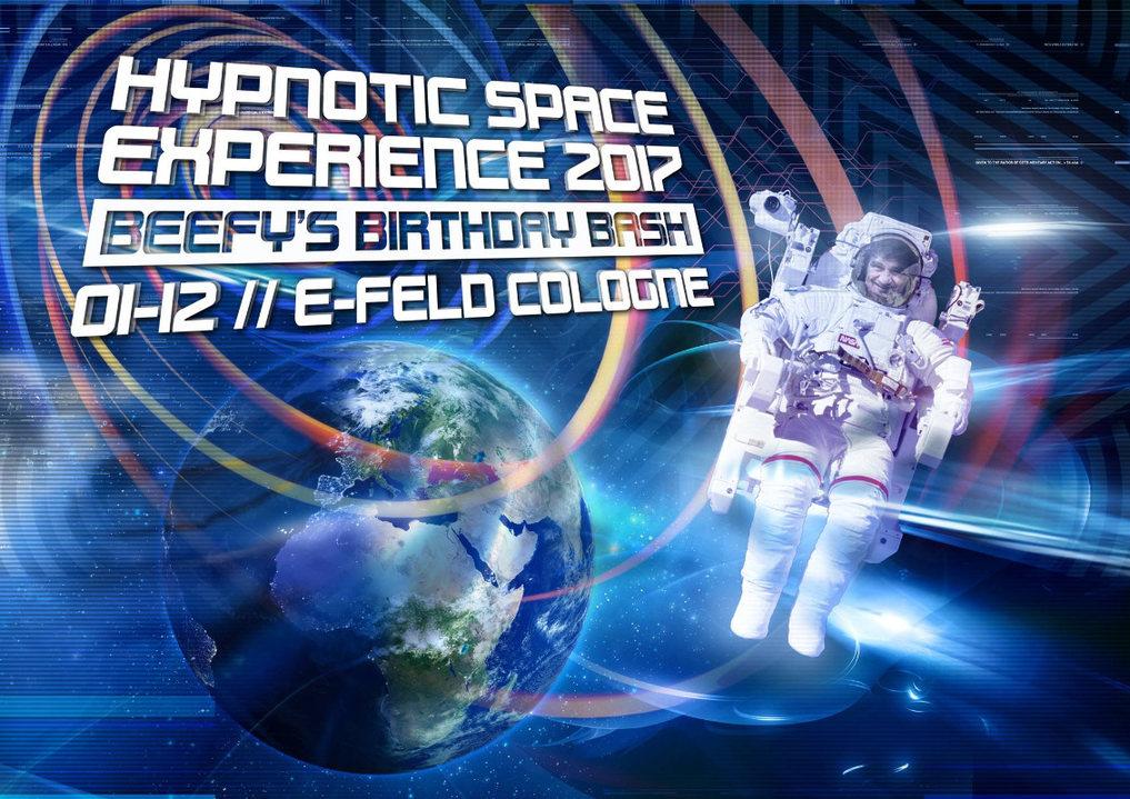 Party flyer: Hypnotic Space 2017 BEEFY`s 60 Birthday Bash ~~>Atmos & E-Clip Live<~~ 1 Dec '17, 22:00