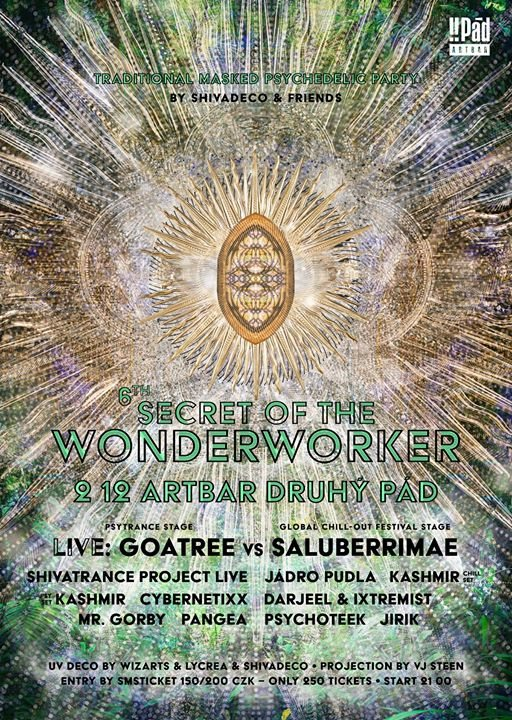 Party flyer: Secret of the Wonderworker 6. - psychedelic masked party 2 Dec '17, 21:00