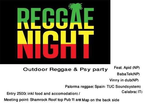 Party flyer: 24hrs reggae & psy outdoor party 8 Dec '17, 11:00