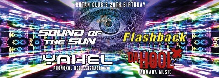 Party flyer: Sound Of The Sun / Butan Club's 20th Birthday / Yahel / Da Hool 8 Dec '17, 22:00