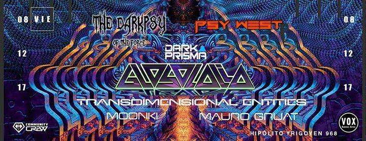 Party flyer: Vie 8/12 Psy West & DB: Glosolalia, Transd. Entities & Moonki 8 Dec '17, 23:59