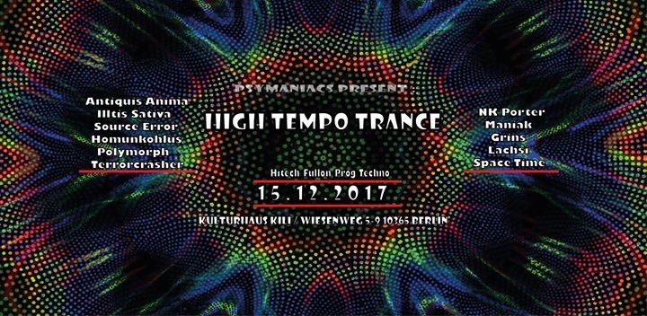 Party flyer: Psymaniacs Present: High Tempo Trance ॐ 15 Dec '17, 23:00