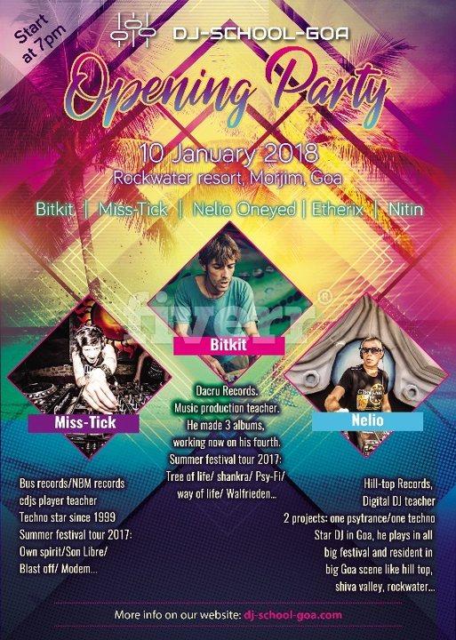 Party flyer: Dj-School-Goa Opening Party 10 Jan '18, 07:00