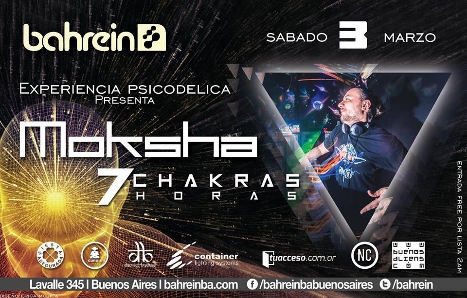 Free H/2am!Sab 3/3 Experiencia Psicodelica: Moksha 7 Chakras 7hs 3 Mar '18, 01:00