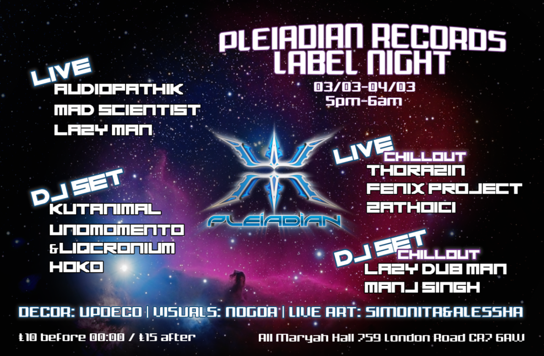 Welcome to the future pleiadian rec night presented by future acoustics 3 Mar '18, 20:00