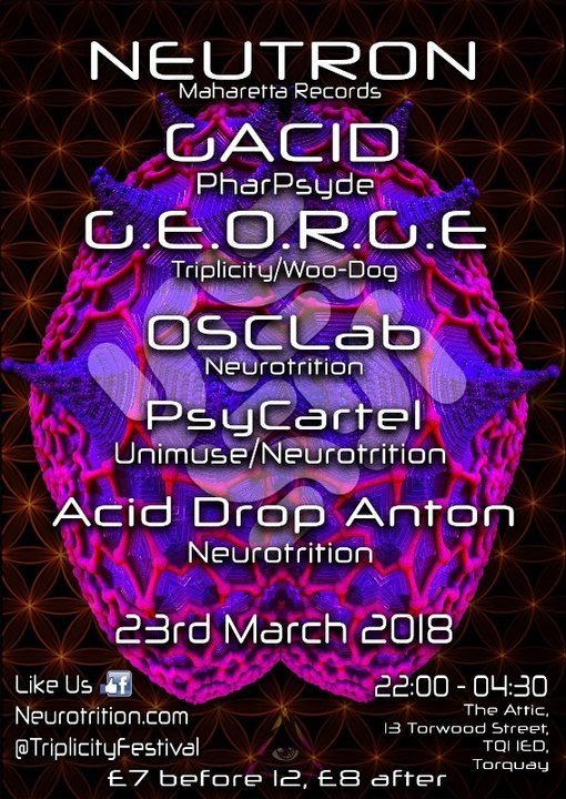 Neurotrition Psytrance Presents:Triplicity Festival Promo Party 23 Mar '18, 22:00