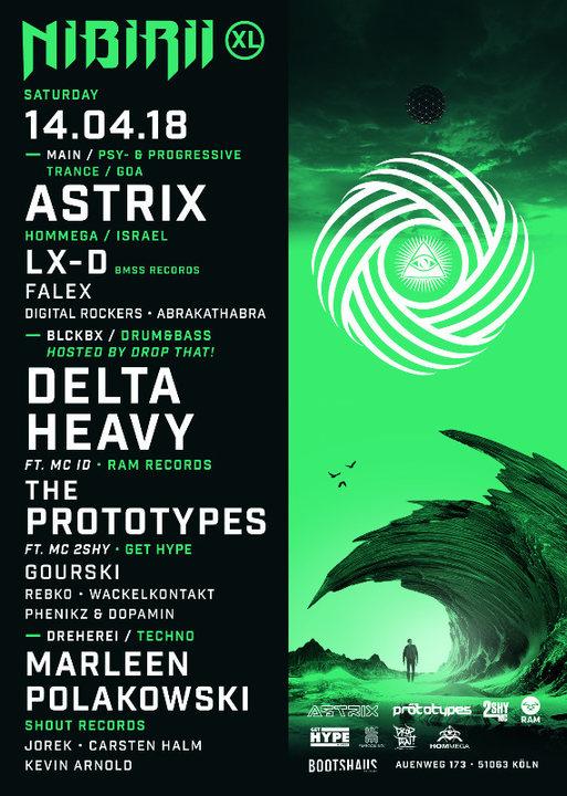 Nibirii XL: Astrix / Delta Heavy, The Prototypes & more 14 Apr '18, 22:00
