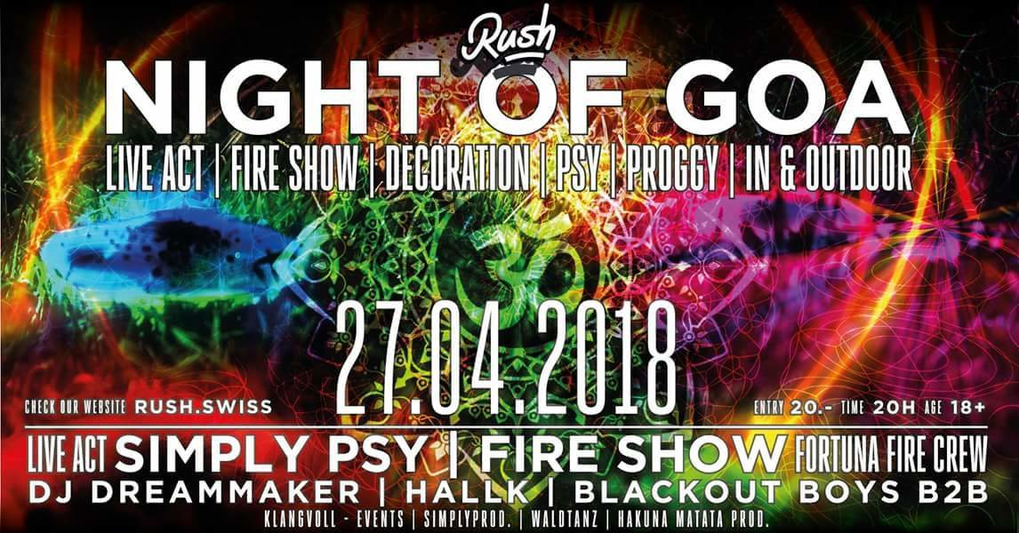 Night of Goa ॐ Finest Siwss Psytrance ॐ 27 Apr '18, 20:00