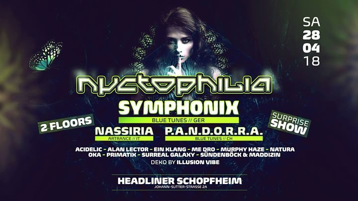 Nyctophilia with Symphonix, Nassiria, Pandorra and lokal Support 28 Apr '18, 22:00
