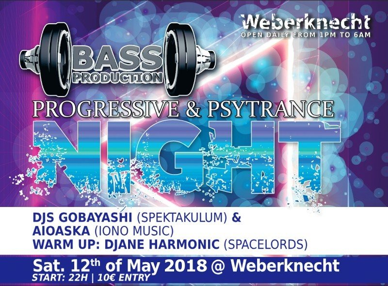 Bassproduction Progressive & Psytrance Night 12 May '18, 22:00