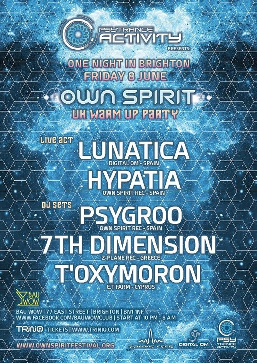 Psytrance Activity x Own Spirit UK Warm Up Party 8 Jun '18, 22:00
