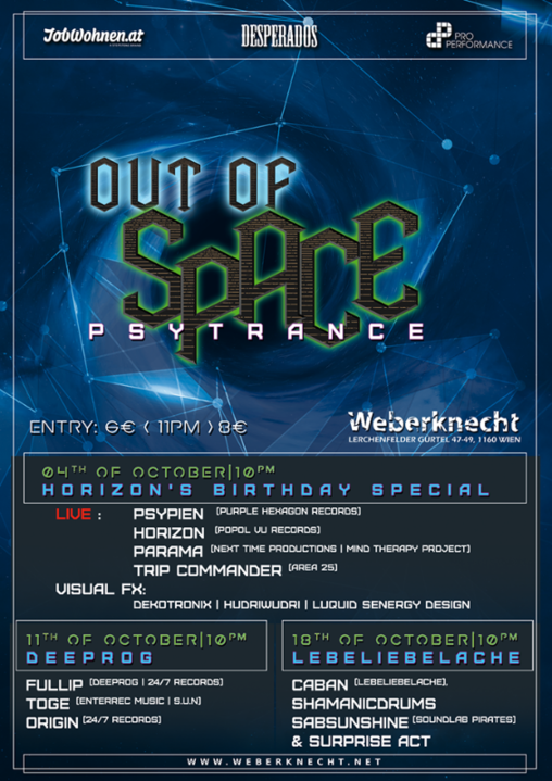 OUT of SPACE - lebeliebelache special 18 Oct '18, 22:00