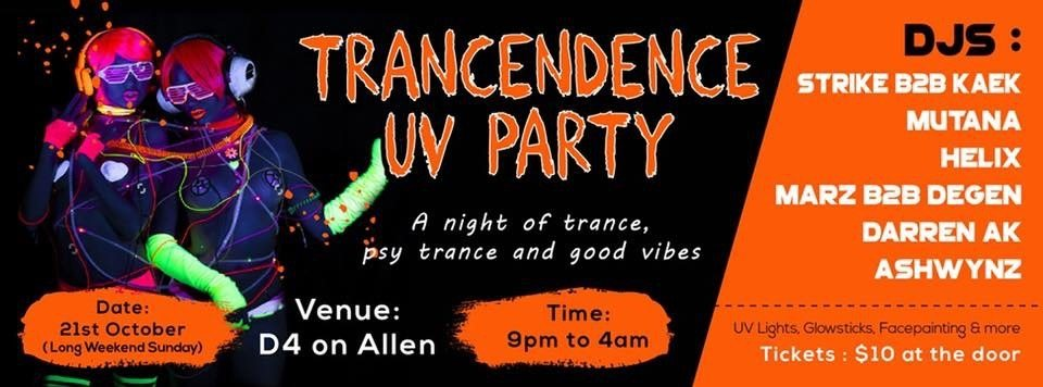 TRANCENDENCE UV PARTY 21 Oct '18, 21:00