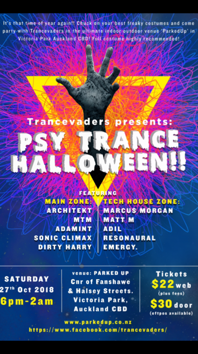 Trancevaders Psy-trance Halloween 27 Oct '18, 18:00